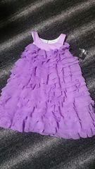 新品 80ぐらい 総フリル ワンピース ドレス 紫