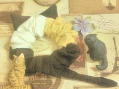 ハンドメイド*・゚シマシマ入り三毛猫モチーフシュシュ猫耳&しっぽ♪ネコ