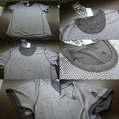 送料込(M灰)アデイダス BXA36 Tシャツ リバーシブルSNOVATOKYO丸首半袖