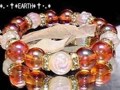 天然石★薔薇彫Fローズクォーツ&オレンジフラッシュ水晶