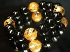 大願成就!!金彫皇帝龍水晶×ブラックオニキス数珠ブレスレット