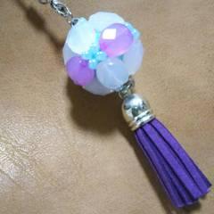 【手作り】くす玉・タッセル付き・white&purple