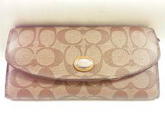 9090/COACHコーチ可愛いシグネスチャー柄デザインの長財布オレンジカラー