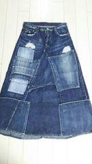 デニム&ダンガリー ダメージスカート size160�p �A