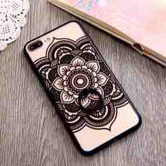 新品 iPhone7 iPhone8用 大きなお花のケース ブラック�G