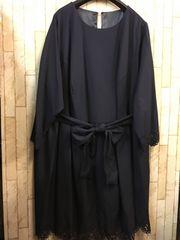 新品☆10L大きいサイズ紺きれいなデザインワンピース☆s915