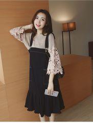 新品大きいサイズ4L17号 デニムジャンパースカート 黒