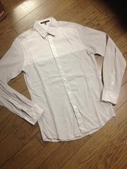 美品theory デザインストライプシャツ メンズ セオリー