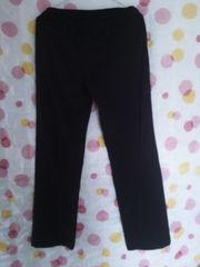 中古 シンプルパンツ(L)黒×裾後ろスリット