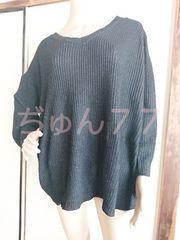 新品☆4L-6L透かし編みニットセーター★ブラック黒無地/大きいサイズ