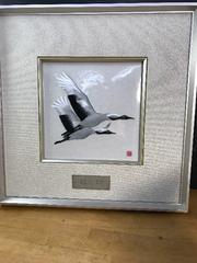 安藤七宝の素晴らしい額。双鶴の飛翔。