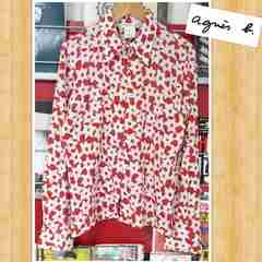 agnes b. アニエスベー 高級riri 総柄シャツ 日本製 1 美品