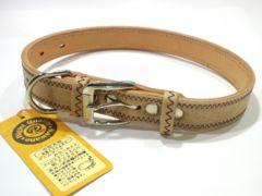 送205円デニムアートカラーBrownF0852#24犬平首輪茶高級34~42cm15kg20kg