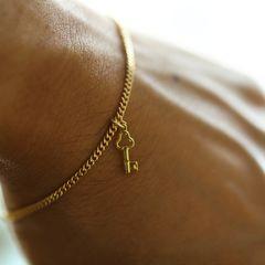 超小キー鍵 2ミリ ゴールド ブレスレット Nカニカン