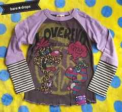新品同様【ラブレボLOVEREVOLUTION】120ふたりファジーレイヤードロングTシャツ