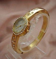 スリムバングルラインストーンウォッチGO-腕時計