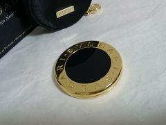 正規美 ブルガリBVLGARI B-zero スライド式コンパクトミラー金×黒 鏡 付属有