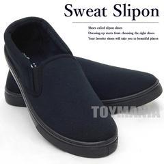 新品 スリッポン スニーカー シューズ レディース 靴 無地 スウェット 24-25cm 黒