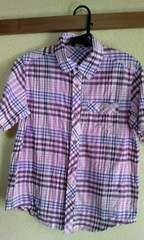 イーストボーイ150cmピンク系チェック半袖シャツ