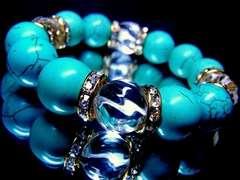 ☆〜鬼シブ◆トルネード水晶‡ターコイズ14ミリ金ロンデル数珠