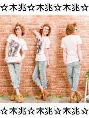 500眼鏡GIRLプリント半袖Tシャツメガネ