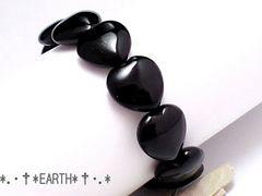 天然石★14ミリブラックハートオニキス黒瑪瑙AAA数珠