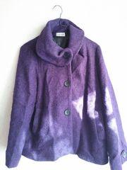 紫*ショートコート。カジュアル。衿元*