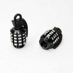 ユニークな手榴弾型 エアバルブキャップ ブラック 2個セット