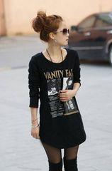大きいサイズ 長袖 ロングTシャツ プリントトップス 黒