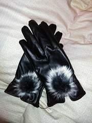 送料無料!新品未使用 スマホ対応手袋(ブラック 本物ラビット)