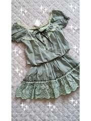 リズリサ☆裾刺繍ギンガムチェックコットンワンピ