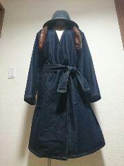 ★新品タグ6L★デニムガウン★紐ベルト