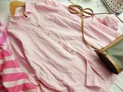 Ungrid新品カラーリネンSHピンクシャツ