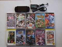 PSP-2000 ブラック 国内版 ソフト10本付 動作確認済Used�H