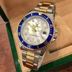 最安値!ロレックス・サブマリーナタイプ◇クォーツ メタル腕時計・シェル紺枠×コンビ