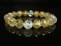 運気アップ 素彫四神獣本水晶×タイチンルチルブレスレット 10mm数珠
