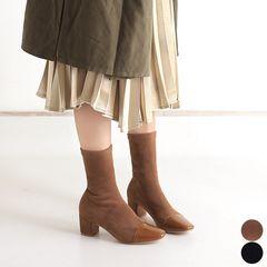 ☆最高のフィット感で履き心地が抜群♪スエード調ショートソックスブーツ/全2色
