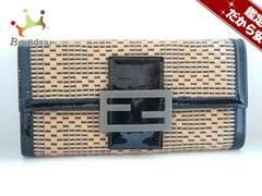 フェンディ 長財布 - 8M0021 ライトブラウン×黒 エナメル(レザー)