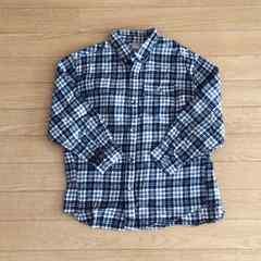 チェックシャツ ネルシャツ 白×黒 男女OK 130cm