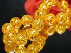 最強天然石ブレスレット!!琥珀アンバーカラークラック12mm数珠!!!