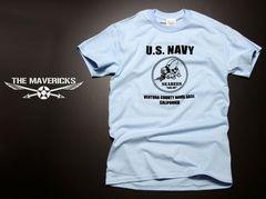 米海軍「SeaBee」蜂Tシャツ・水色黒S・新品/ミリタリーアメカジ