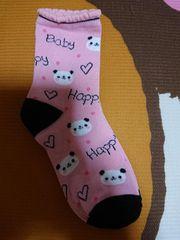 新品、靴下、くつ下、22�p〜25�p、パンダ、動物、ピンク色、1円