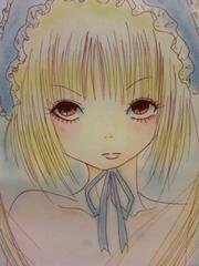 自作イラスト原画☆金髪ツインテールの女の子