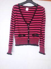 エアコンの寒さ対策に!LD Prime ピンク×黒 長袖 カーディガン M N2m