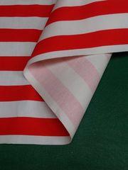 「1スタ」 約87�p幅×0.5m・赤白ストライプ・裏面芯貼り布