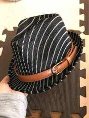 帽子色、選べるベルト、リボンメッシュっぽい中折れハット