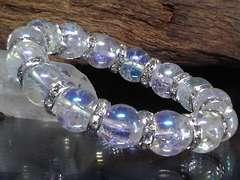 アクアオーラクラック12ミリ銀ロンデル数珠
