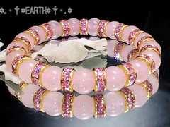 天然石★8ミリローズクォーツ紅水晶&ピンク金ロンデル数珠