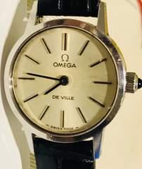 良品オメガデビルレディース時計手巻き式革ベルト新品稼働品