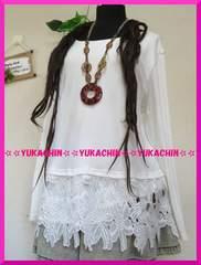 新作◆大きいサイズ3Lホワイト◆裾花柄レース◆一体型チュニック